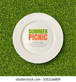 Vector realistic 3d illustration of white empty plate on green grass lawn. Spring, summer picnic in park. Banner, poster design template. Background with copy space.