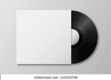 Vector realistic 3d music gramophone vinyl LP record with cover icon closeup isolated on white background. Design template of retro long play for advertising, branding, mockup, packaging for graphics