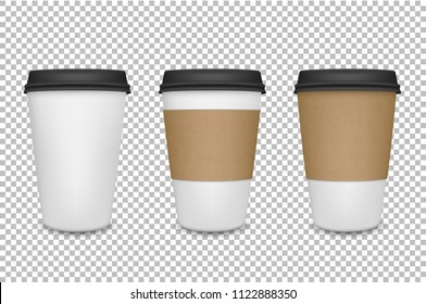 Vector realistic 3d paper coffee cup icon set closeup on transparency grid background. Design template for graphics, mockup. Front view
