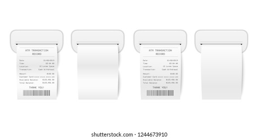 Vector Realistic 3d Paper Printed ATM Transaction Record Receipt with ATM Skimmer Set Closeup Isolated on White. Design Template of Bill ATM, Receipt Records, Financial Check for Mockup. Front View