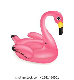 Vector realistic 3d pink Cartoon flamingo, tropical bird shape inflatable swimming pool ring, tube, float isolated. Summer vacation holiday rubber object, traveling, beach ocean. Swimming circle.