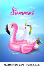 Vector realistic 3d pink flamingo, unicorn rainbow shape inflatable swimming pool ring, tube, float. Summer vacation holiday traveling beach ocean. Illustration on sea wave blue cloud sky background