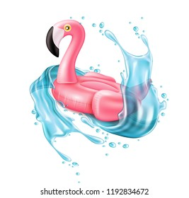 Vector realistic 3d pink flamingo, tropical bird shape inflatable swimming pool ring, tube, float in water splash. Summer vacation holiday rubber object, traveling, beach Illustration