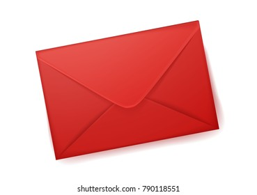 Vector realistic 3d red envelope empty post letter cover. Business post mail, office documents, invitation message, corporate identity design mockup template. Isolated illustration, white background