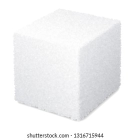 Vector realistic 3d sugar cube isolated on white background. Eps8.