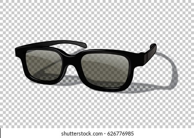 Vector realistic 3D or sunglasses isolated on transparent background.