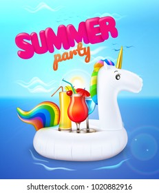 Vector realistic 3d unicorn shape rainbow hair inflatable swimming pool ring tube float with cocktail. Summer party lettering inscription poster template vacation Illustration sea cloud sky background