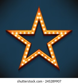 Vector realistic 3d volumetric icon on marquee sign five pointed star frame lit up with electric bulbs | Retro looking presentation design element golden star symbol glowing with lamps