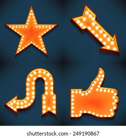 Vector realistic 3d volumetric icons on arrows, like feature thumbs up star symbols glowing with bulbs   Marquee thumbs up gesture and favorite star lit with lamps for social media marketing design