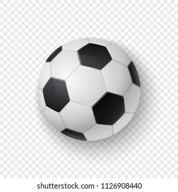 Vector realistic 3d white and black classic football soccer ball icon closeup isolated on transparency grid background. Design template for graphics, mockup. Top view