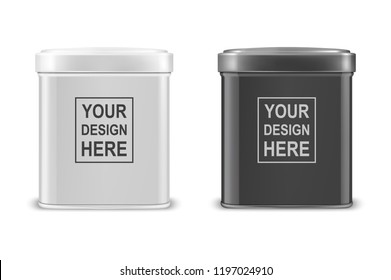 Vector realistic 3d white and black blank metal aluminium tea tin can container with cap rectangular or square shape icon set closeup isolated on white background. Design template for graphics