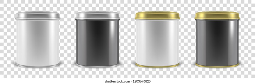 Vector realistic 3d white and black metal tin can container set closeup isolated on transparent background. Design template for packaging baby powder milk, tea, coffee, cereal etc., mockup. Front view