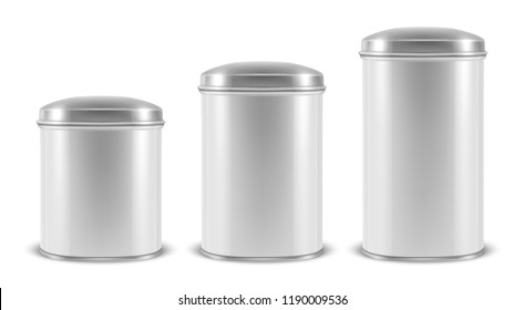 Vector realistic 3d white blank metal aluminium tin can containers with silver cap different size - small, medium and big - icon set closeup isolated on white background. Design template for graphics