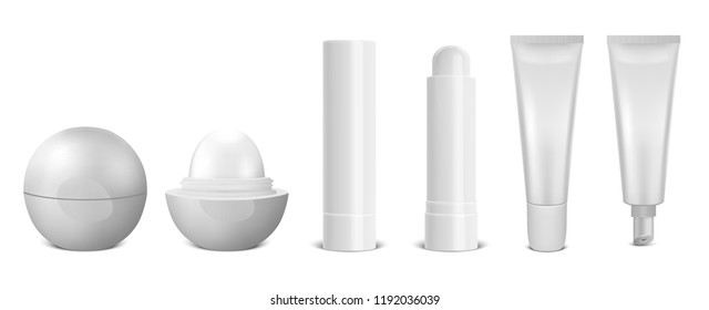 Vector realistic 3d white blank glossy closed and opened lip balm stick icon set closeup isolated on white background. Design template for graphics, vector mockup. Cosmetic packaging, hygienic