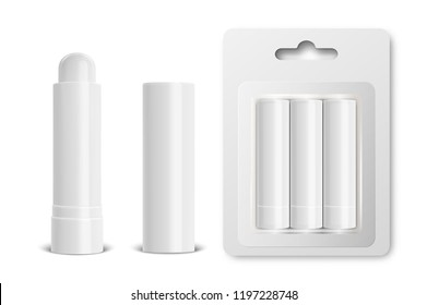Vector realistic 3d white blank glossy closed, opened, in blister lip balm stick or hygienic lipstick set closeup isolated on white background. Design template for graphics, branding, advertise