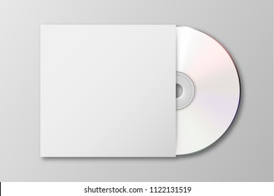 Vector realistic 3d white cd with cover icon isolated. Design template of packaging mockup for graphics. Top view