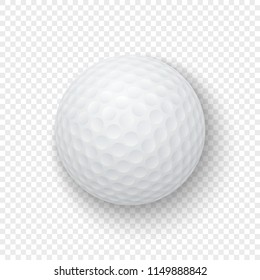 Vector realistic 3d white classic golf ball icon closeup isolated on transparency grid background. Design template for graphics, mockup. Top view