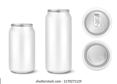 Vector realistic 3d white empty glossy metal black aluminium beer pack or can visual 330ml 500ml. Can be used for lager, alcohol, soft drink, soda, fizzy pop, lemonade, cola, energy drink, juice