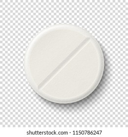 Vector realistic 3d white medical pill icon isolated on transparency grid background. Design template for graphics, banners. Top view