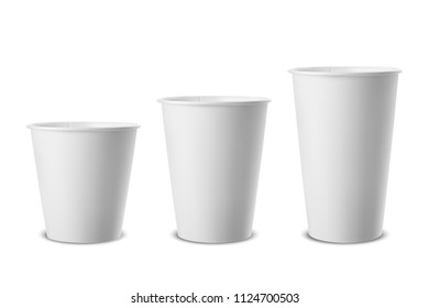 Vector realistic 3d white paper disposable cup icon set closeup isolated on white background. Different size - small, medium and large. Design template for graphics, mockup. Front view