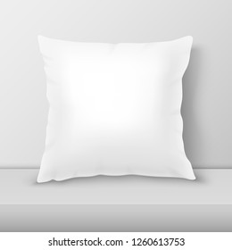 Vector Realistic 3d White Pillow Closeup on Table, Shelf Closeup on White Wall Background, Mock-up. Empty Square Pillow Design Template for Mockup, Branding, Logo Print. Home, Hotel Decor. Front view