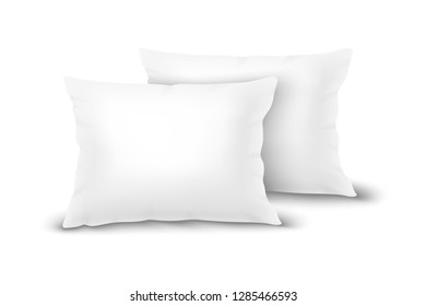 Vector Realistic 3d White Pillow Set Closeup Isolated on White Background. Elements of Bedroom, Home, Hotel Decor. Design Template of Rectangular Euro Pillows for Graphics and Mockup. Front view
