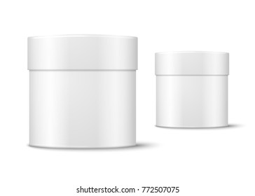 Vector realistic 3d white round paper box isolated on white background.  Mock-up for product package branding.