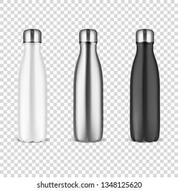 Vector Realistic 3d White, Silver and Black Empty Glossy Metal Reusable Water Bottle with Silver Bung Set Closeup on Transparency Grid Background. Design template of Packaging Mockup. Front View