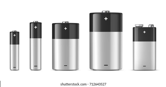 Vector realistic alkaline batteriy icon set. Diffrent size - AAA, AA, C, D, PP3. Design template for branding, mockup. Closeup isolated on white background. Stock vector.