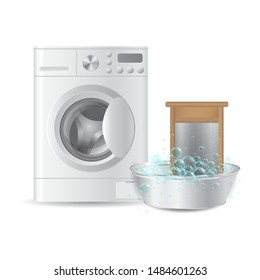 Vector realistic  automatic washing machine and ribbed hand washboard in metal basin with soap bubbles isolated on white background. Hausework concept. 3D illustration.