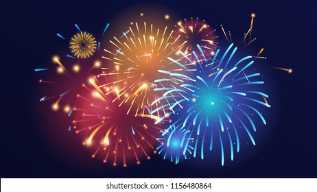 Vector realistic background with colorful fireworks on dark background.
