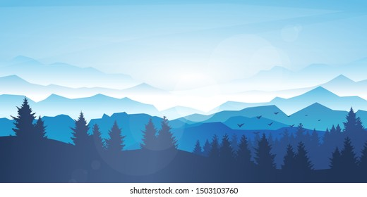 Vector realistic background. Minimalistic landscape with trees and mountain. Blue panoramic banner. Fog in the mountains. Polygonal wallpapers. Misty morning. Sun glare effect. Blinding day. Clear sky