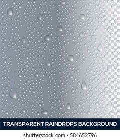 Vector realistic background of raindrops on glass, transparent water drop.