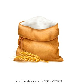 Vector realistic bag of flour with wheat ears isolated on white background. Heap of flour. Design element. Bread and harvest theme. Food and feed. 3d illustration.