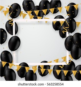 Vector realistic balloons black colors. Party invitation template, concept, confetti and gold.