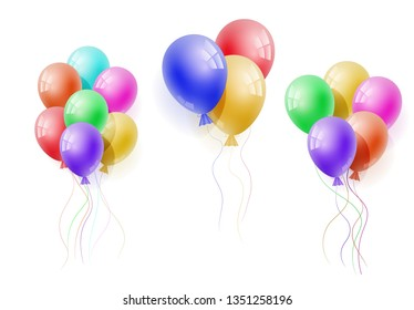 Vector realistic banch of colorfull helium balloons. Concept for promotion, ad, sale, flyer, greeting card. Free space for the text.Three-dimensional illustration. Eps 10.