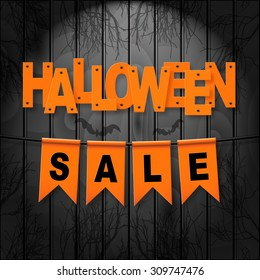 Vector realistic banner with orange party flags on dark wooden background. HALLOWEEN SALE. Easy to edit.