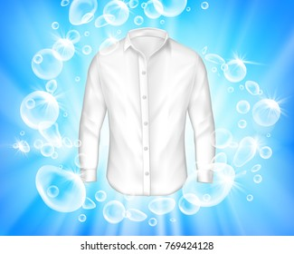 Vector realistic banner with shine white shirt surrounded by soap bubbles on blue background. Mock up design laundry, detergent ad template