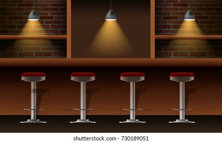 Vector realistic bar, pub interior with brick walls, wooden counter, chairs, shelves and lamps with beam. 3d front view of bar