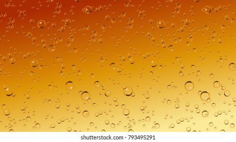 Vector realistic beer soda, champagne carbonated drink with bubbles close up illustration. Golden CO sparklings on orange background. Poster, banner design element
