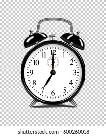 Vector realistic black alarm clock isolated on transparent background.