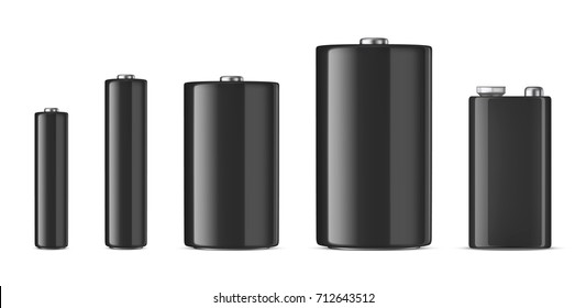 Vector realistic black alkaline batteriy icon set. Diffrent size - AAA, AA, C, D, PP3. Design template for branding, mockup. Closeup isolated on white background. Stock vector.