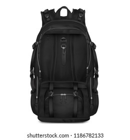 Vector realistic Black Backpack for schoolchildren, students, travellers and tourists.