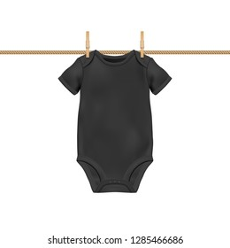 Vector Realistic Black Blank Baby Bodysuit Template, Mock-up Hanging on Rope with Clothes Peg Closeup Isolated on White Background. Body Children, Baby Shirt, Onesie. Accessories, lothes for Newborns