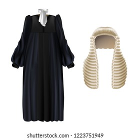 Vector realistic black court dress with sleeves, white wing collar, long wig with curls isolated on background. Judicial gown with periwig, uniform for judges and barristers, formal clothing