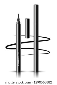 Vector realistic black eyeliner open and closed isolated on white background