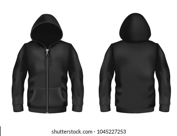 Vector realistic black hoodie with zipper, with long sleeves and pockets, casual unisex model, sportswear, sweatshirt with hood isolated on background. Mockup for clothes design, front and rear view