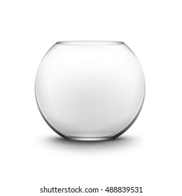 Vector Realistic Black Transparent Glass Smooth Empty Fishbowl Aquarium Isolated on White Background