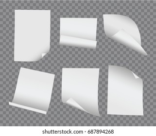Vector realistic blank bent and curled paper collection on transparent background