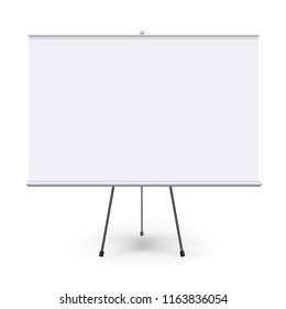 Vector realistic blank flipchart with three legs isolated on white clean background. White horizontal roll up banner for presentation, corporate training and briefing. Vector mockup.